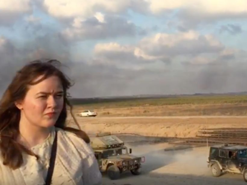 Anna Margrét Pétursdóttir á átakasvæðinu við landamæri Ísraels og Palestínu.