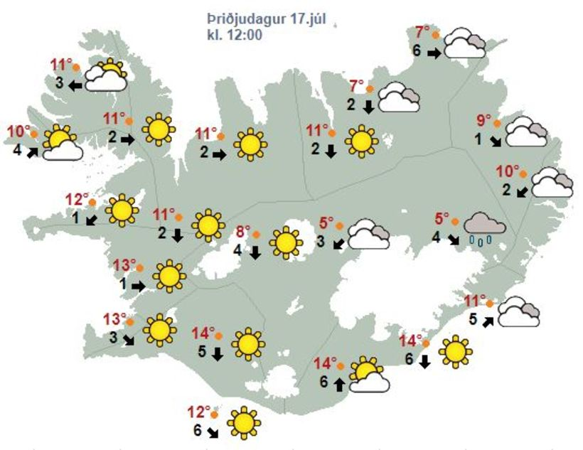 Veðrið á hádegi á morgun, þriðjudag. Sól verður víða um ...
