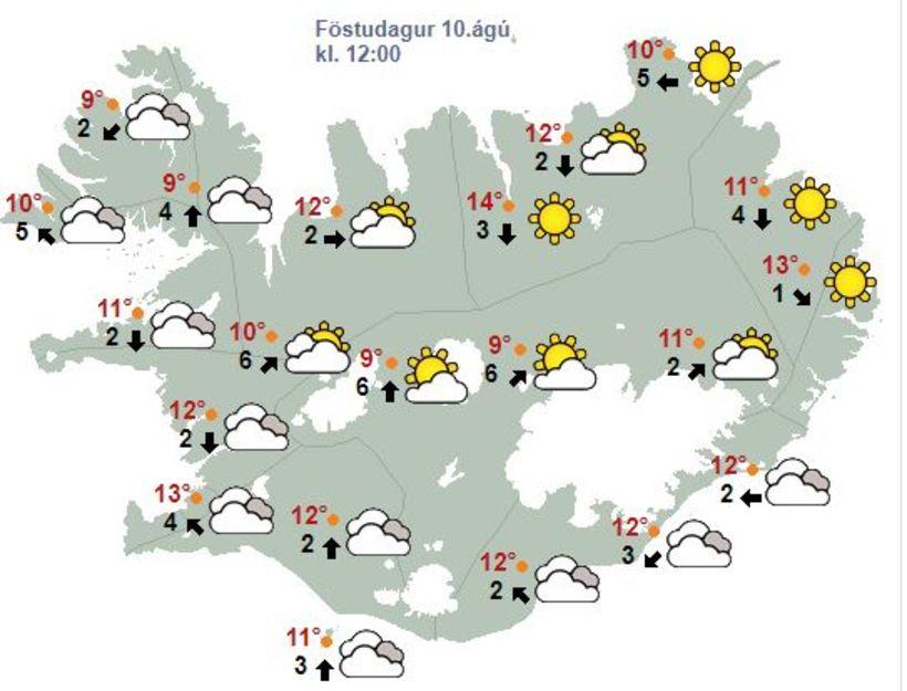 Sólríkt verður á Norðausturlandi um hádegisbil í dag.