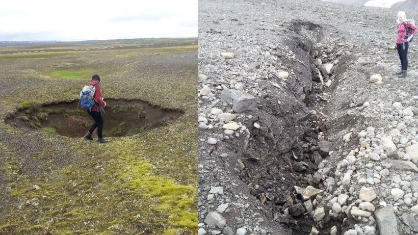 Niðurföll hafa myndast á Tungnafellsjökulssvæðinu þar sem sprungur hafa opnast ...