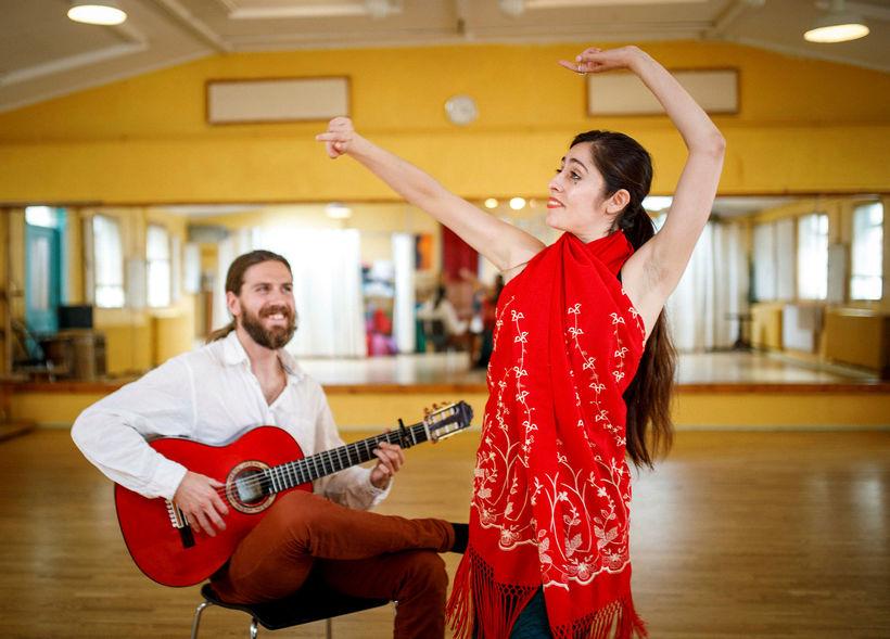 Reynir Hauksson og dansarinn Jade Alejandra. Reynir hefur verið duglegur …