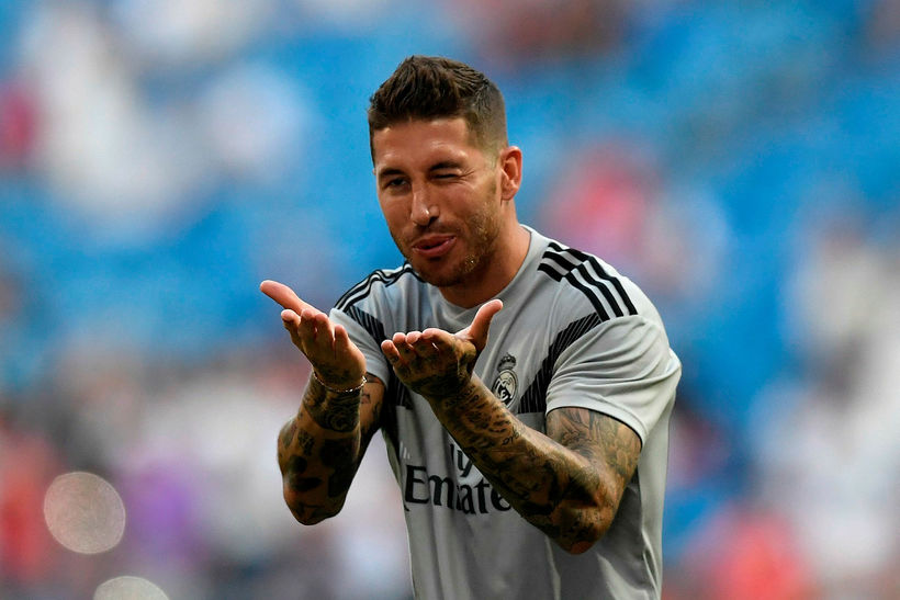 Sergio Ramos fyrir leik Real Madrid og AC Milan í ...