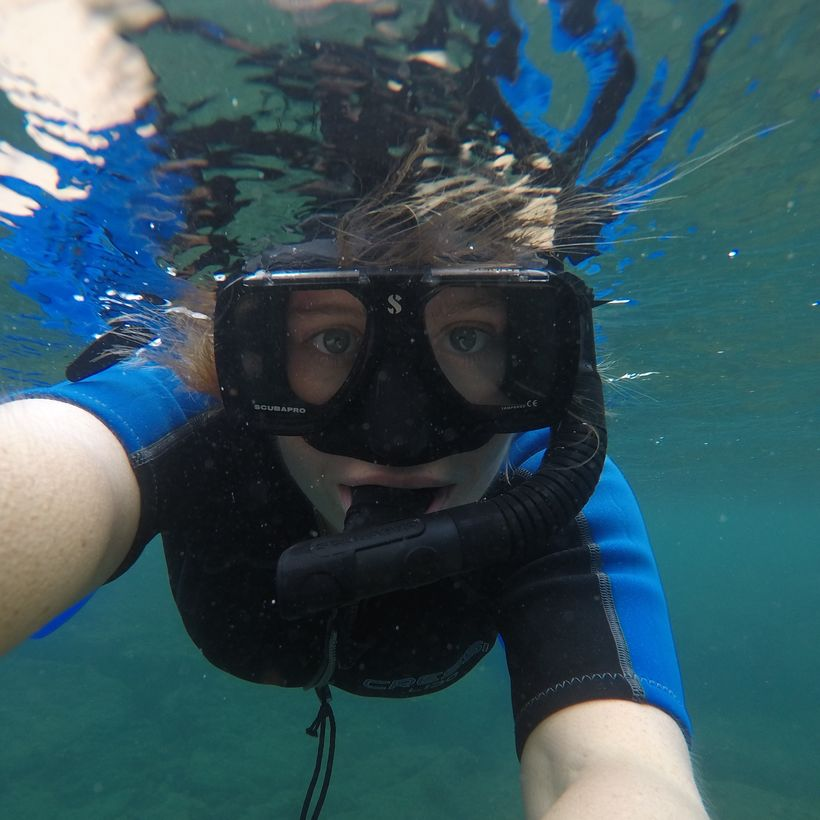 Una snorklaði við Galapagos-eyjarnar.