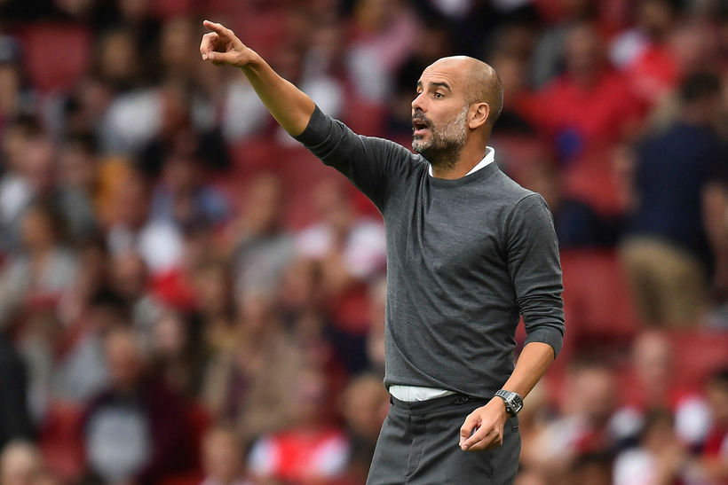 Pep Guardiola í leik Arsenal og Manchester City.