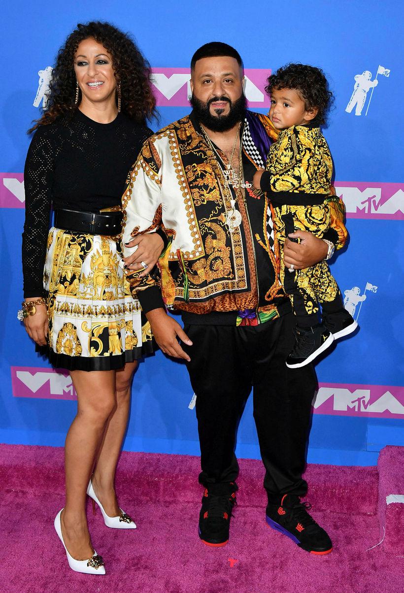 DJ Khaled, eiginkona hans Nicole Tuck og sonur þeirra Asahd ...