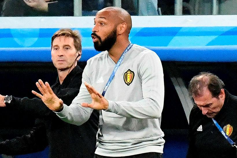 Thierry Henry á hliðarlínu Belga í Rússlandi í sumar.