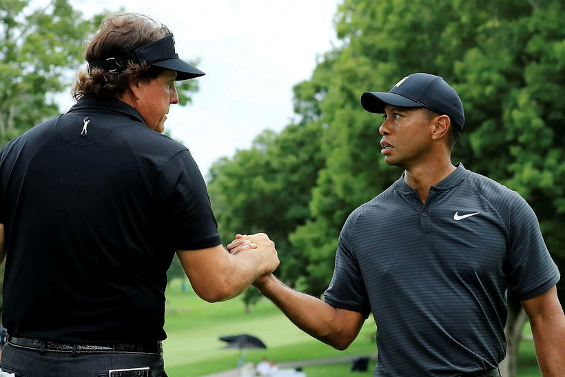 Phil Mickelson og Tiger Woods.