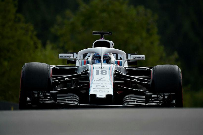 Lance Stroll á Williamsbílnum í belgíska kappakstrinum í Spa-Francorchamps. Útlit ...