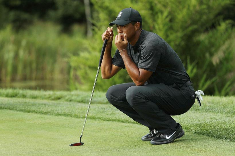 Tiger Woods á hringnum í dag.