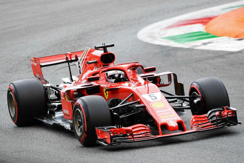 Sebastian Vettel á lokaæfingunni í Monza í morgun.