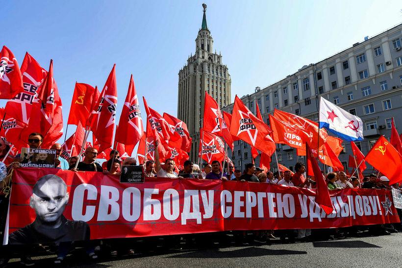 Um 10.000 manns komu saman í Moskvu í dag og ...