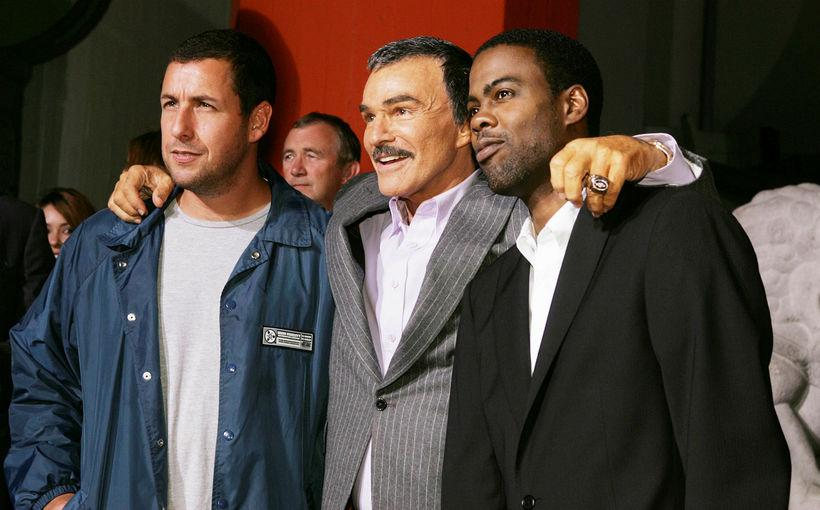 Reynolds árið 2005 ásamt leikurunum Adam Sandler og Chris Rock ...