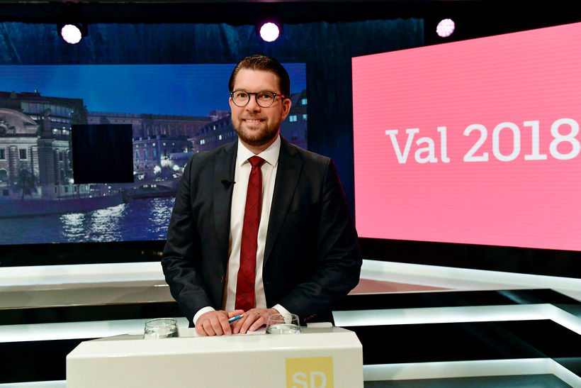 Jimmie Åkesson sést hér í þættinum sem var sýndur í ...