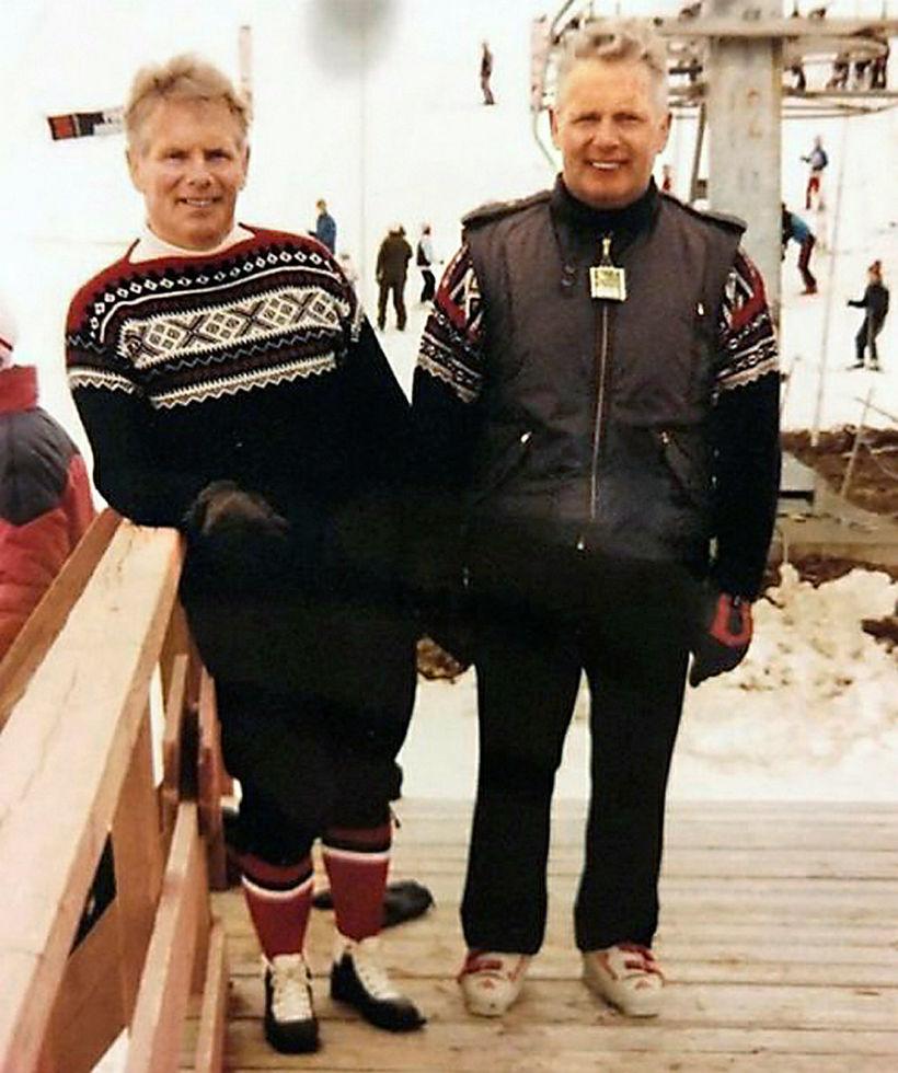 Bræðurnir Baldvin og Vilhelm Þorsteinssynir í Hlíðarfjalli.