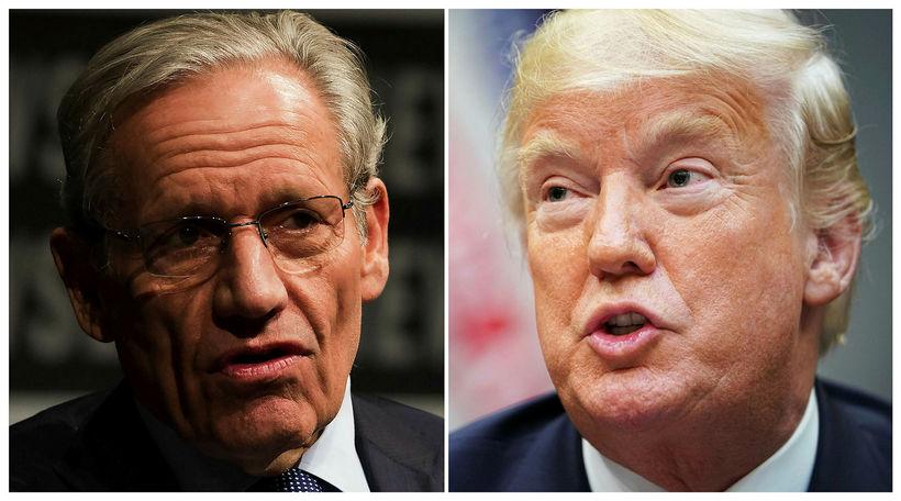 Rannsóknarblaðamaðurinn Bob Woodward og Donald Trump Bandaríkjaforseti. Woodward segir bandarískan ...