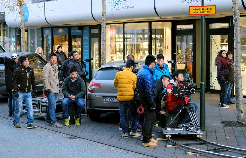 Filming The King of Blaze on Laugavegur in Reykjavik.