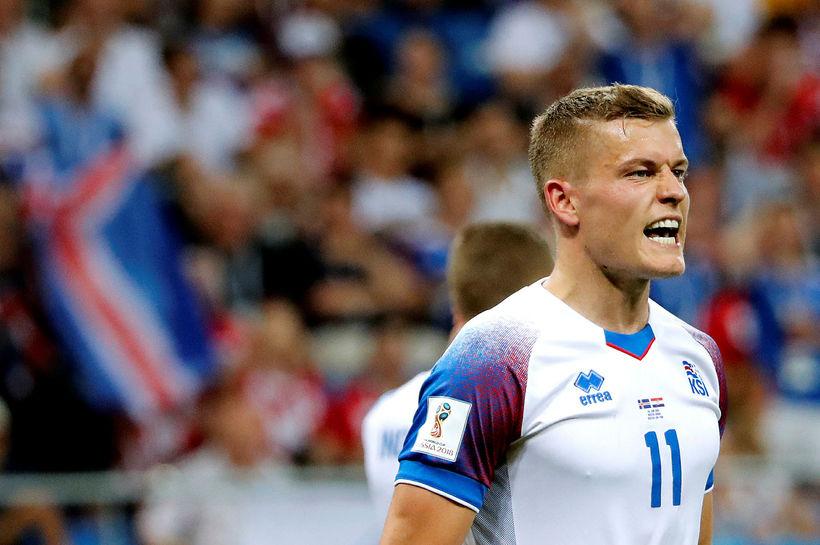 Alfreð Finnbogason skoraði mark Íslands þegar Ísland og Belgía áttust ...