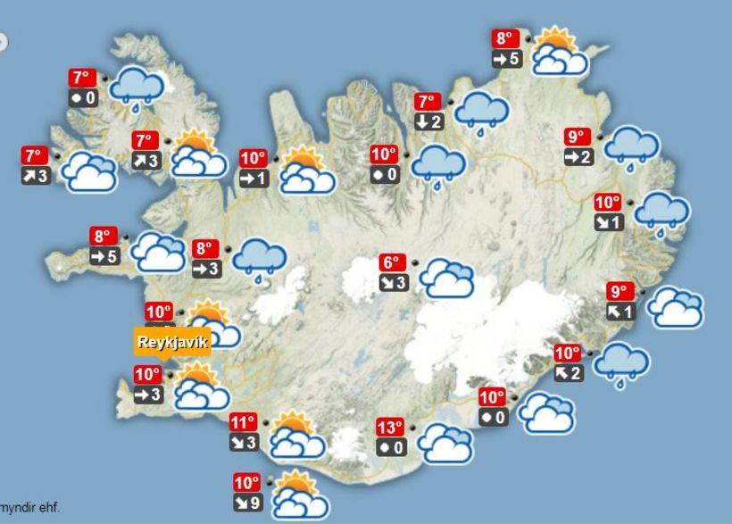 Veðurútlit á hádegi í dag, þriðjudag.