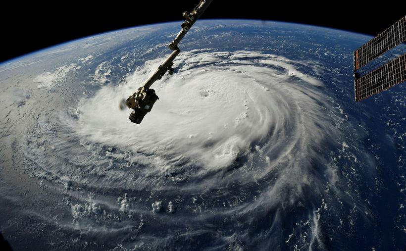 Gervihnattarmynd frá NASA af fellibylnum Florence.