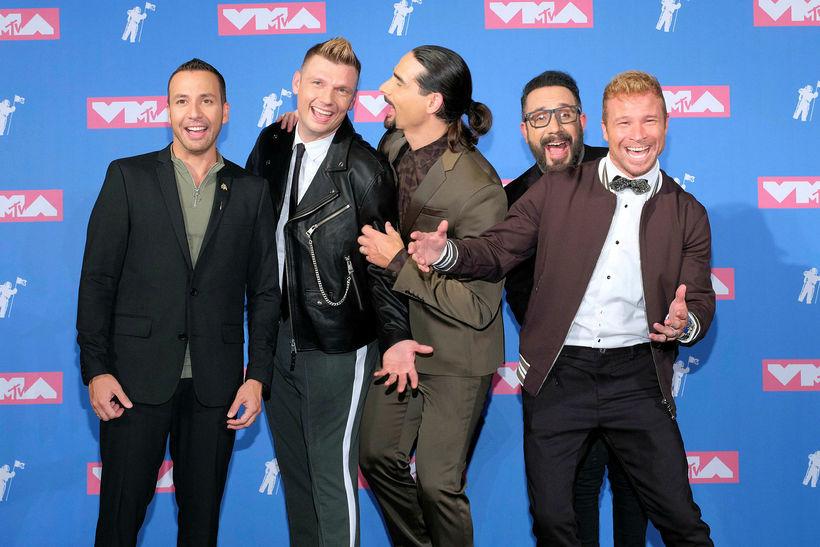 Nick Carter hér með félögum sínum úr Backstreet Boys. Howie …