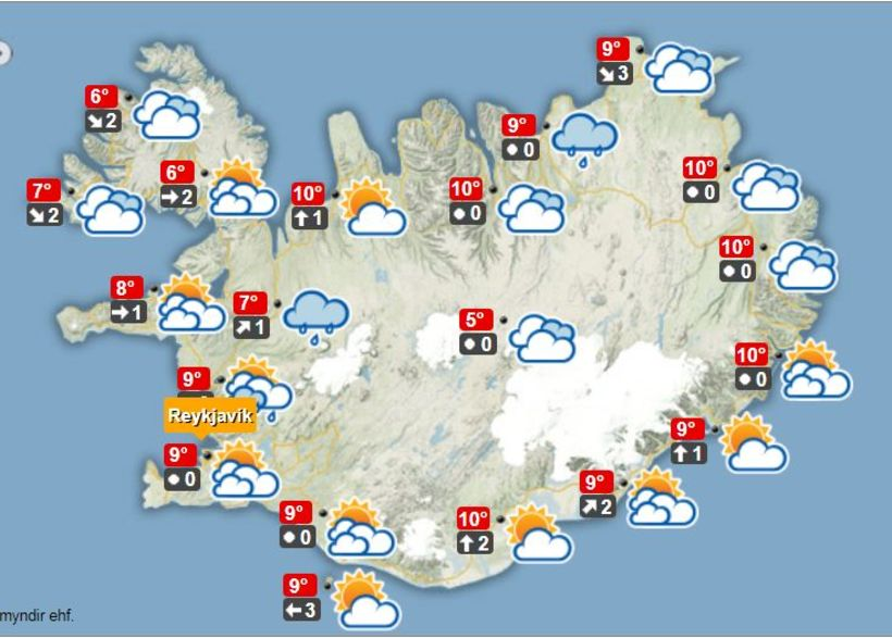 Veðurútlit á hádegi í dag, miðvikudag.