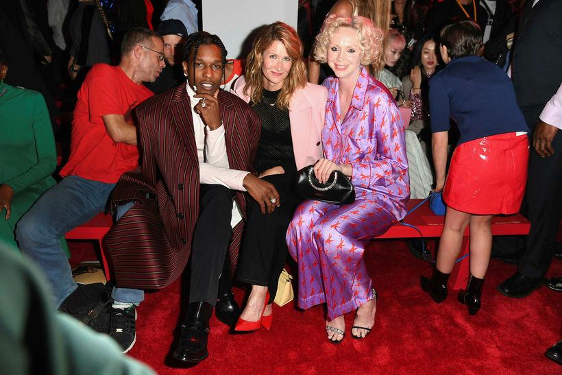 A$AP Rocky og leikkonurnar Lauren Dern og Gwendoline Christie. Náttföt ...