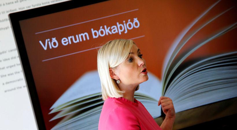 Lilja Alfreðsdóttir menntamálaráðherra á fundinum.