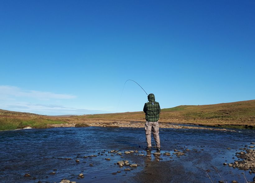 Glímt við lax í Efri-Austurá í Miðfirði í vikunni.