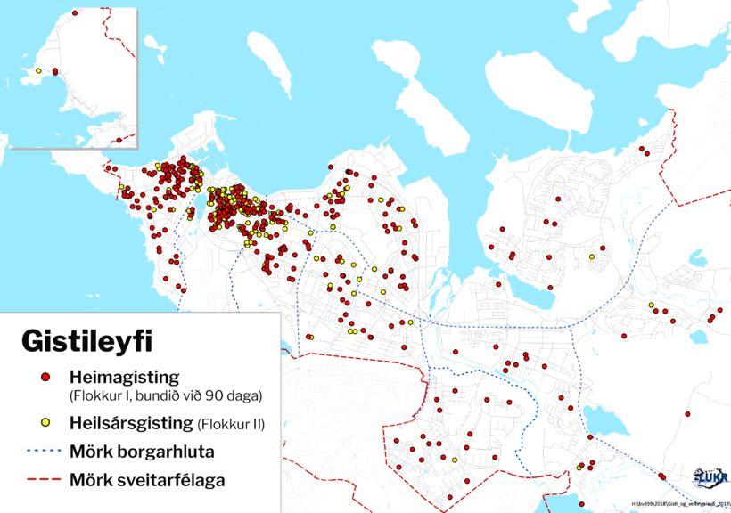 411 gististaðir skráðir sem heimagisting, þar sem leigudagar eru ekki ...