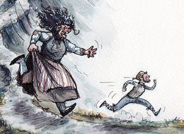 The exhibition on ogresses who eat men is illustrated by Sunneva Guðrún Þórðardóttir.