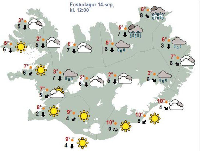 Veðrið á hádegi í dag, föstudag.