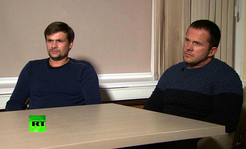 Skjáskot úr viðtalinu við þá Alexander Petrov og Ruslan Boshirov ...