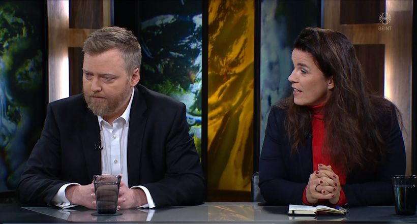 Þingmennirnir Sigmundur Davíð Gunnlaugsson og Helga Vala Helgadóttir voru gestir ...