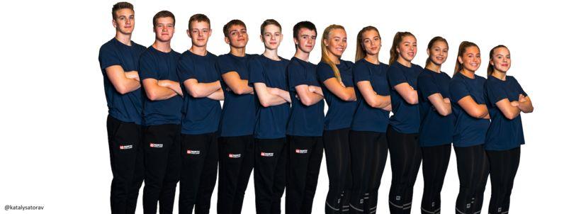 Blandað lið unglinga á EM í hópfimleikum 2018.