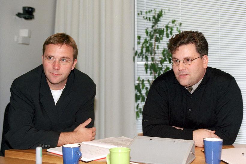 Skúli Mogensen og Skúli Valberg Ólafsson árið 1999.