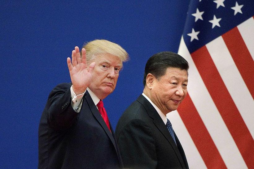Donald Trump og Xi Jinping saman í Kína í fyrra.