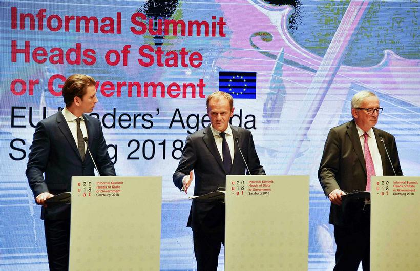 Sebastian Kurz, kanslari Austurríkis, Donald Tusk og Jean-Claude Juncker, forseti ...