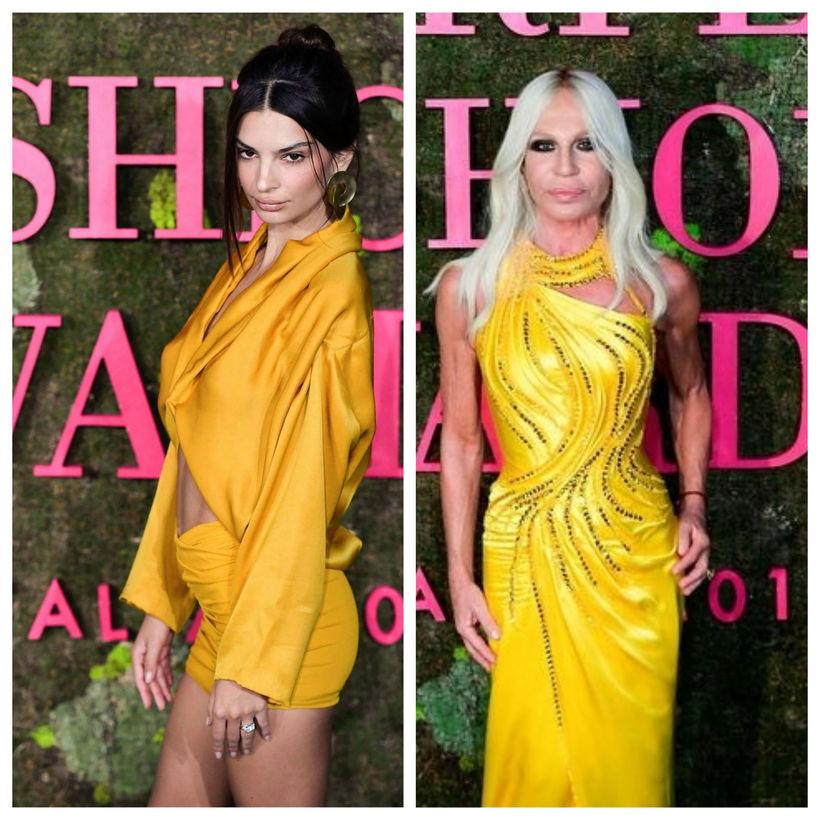 Emily Ratajkowski og Donatella Versace voru flottar í gulu.