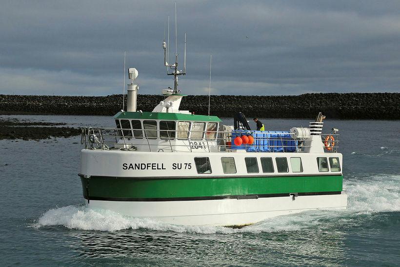 Sandfellið landaði fimmtán tonnum á Siglufirði á sunnudag.