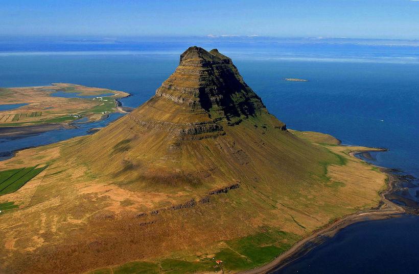 Kirkjufell mountain in summer.