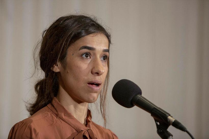 Nadia Murad, 24 ára, ræðir við blaðamenn í Washington í …