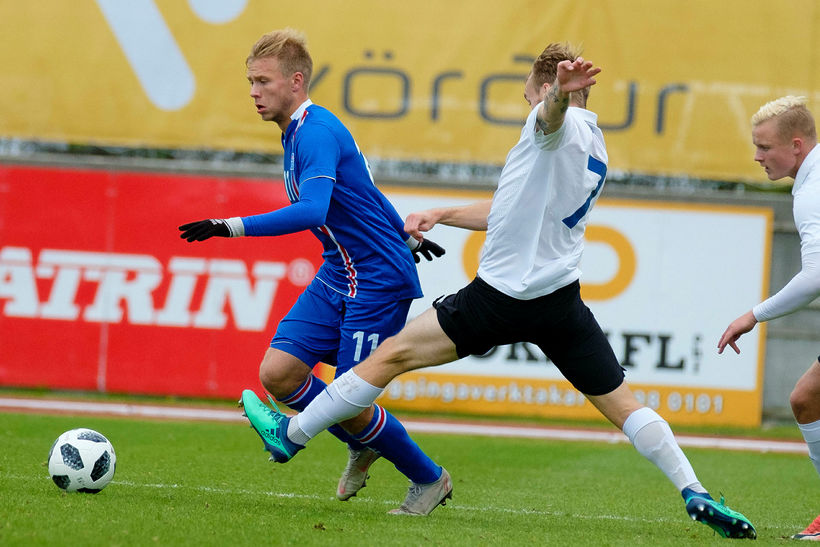 Jón Dagur Þorsteinsson á ferðinni í leik með U21-landsliðinu en ...