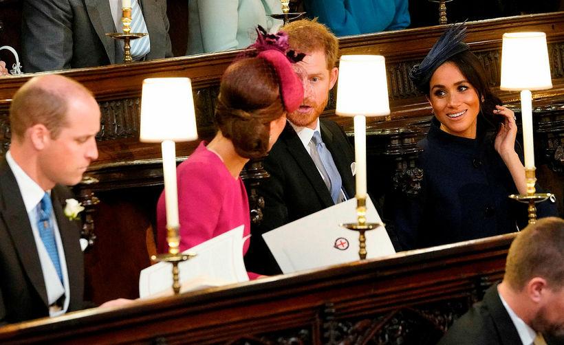 Vilhjálmur, Katrín, Harry og Meghan í brúðkaupi Eugneie prinsessu og ...