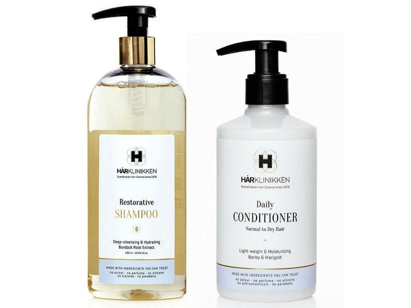 Hårklinikken Restorative Shampoo og Daily Conditioner.
