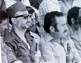 Yasser Arafat með Abu Jihad sem var herstjóri Frelssisamtaka Palestínu, …