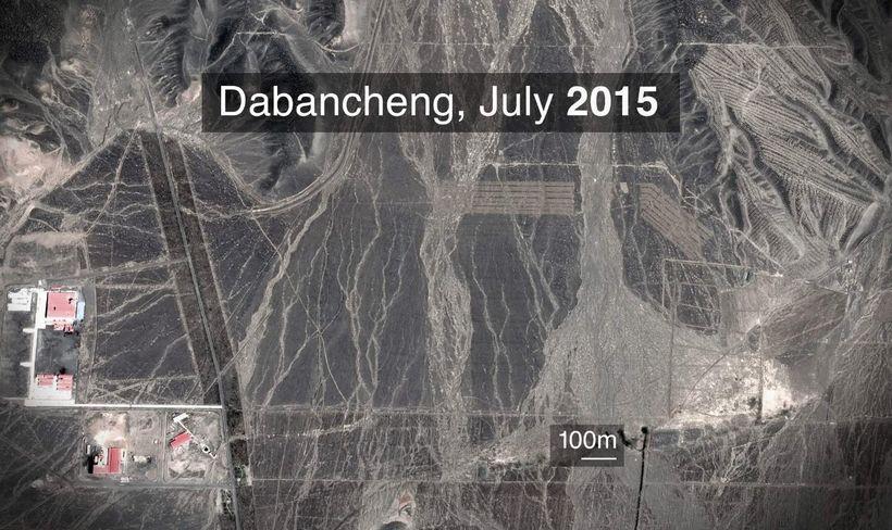Gervihnattamynd af svæðinu þar sem Dabacheng-búðirnar standa nú. 2015 var …