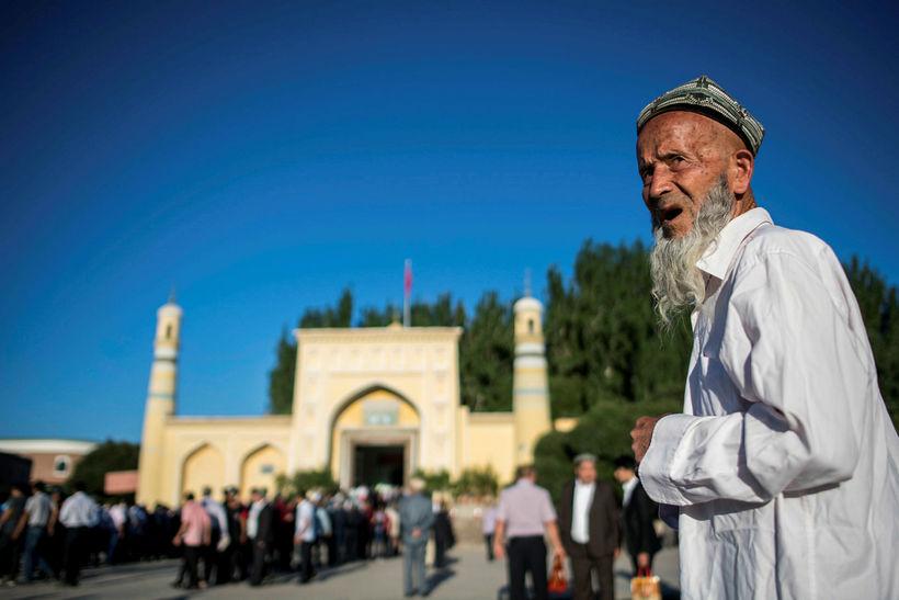 Id Kah moskan í borginni Kashgar í Xinjiang héraði. Fáir …
