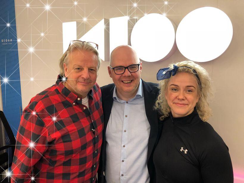 Umsjónarmenn Ísland vaknar, Jón Axel, Ásgeir Páll og Kristín Sif.