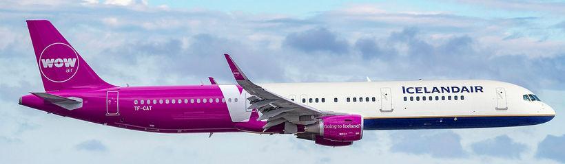 Samsett mynd af þotum WOW og Icelandair.