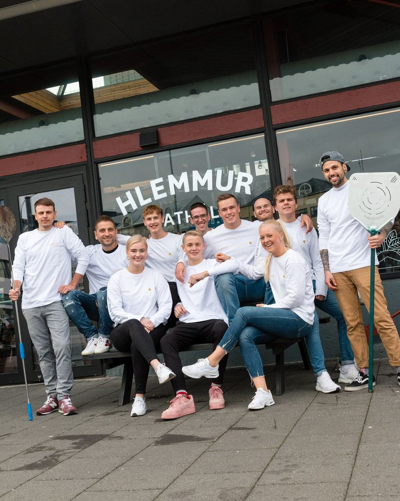 The Flatey team outside Hlemmur Mathöll.